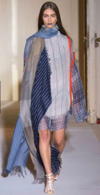 ACNE STUDIOS Breezy layers of scarves create an oversize tunic of contrast patchwork.