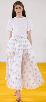 EMILIA WICKSTEAD The use of 70s silhouettes was inspired by love hotels in South America during the 1970s - literally, the purpose of people needing a place to hookup. The designer gracefully translated the promiscuous history into a romantic and sheer runway.