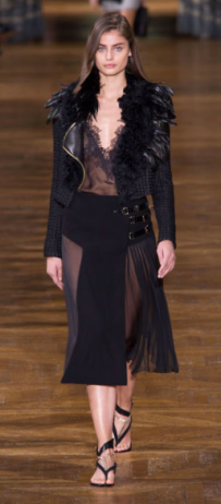 LANVIN The dark sheer gown is paired with a jacket for ready-to-wear practicality off the runway.