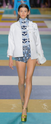 MIU MIU Little short-shorts in fun prints and colors were displayed to highlight the wearable separates this collection was really about - with jackets, sweaters, turtlenecks, dresses, fun shoes and great small bags.