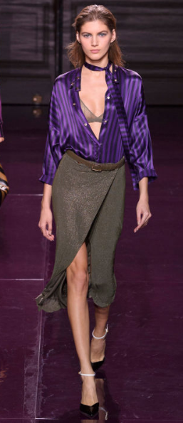 NINA RICCI The fresh color of purple felt seasonless with deep purple silks against dark neutrals - all those plum-my and navy separates will have legs in the fall temperatures, too.