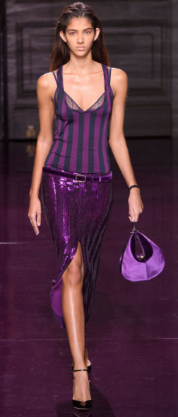 NINA RICCI The stripe tanks and sequined skirts and sheaths were all sexy, interesting, and yes, purple.