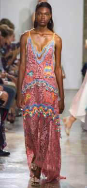 PETER PILOTTO Designer Peter Pilotto and Christopher de Vos traveled to Latin America, Cuba and Peru where they were inspired to feature breezy and vibrant colors and silhouettes of southern hemisphere clothing which includes many unique prints and patterns.