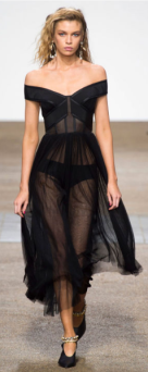 TOPSHOP UNIQUE The black sheer design is off the shoulder and primarily see-through creating a sexy evening dress.