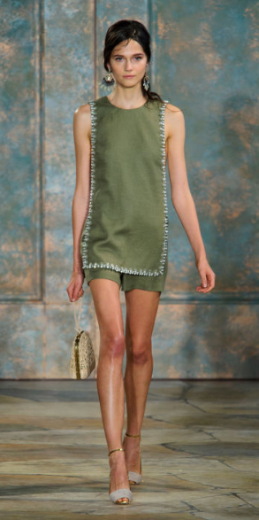 TORY BURCH The embellished trim linen tunic and shorts set captivates the attention of any earthy green loving girl ready for a tan and a getaway.