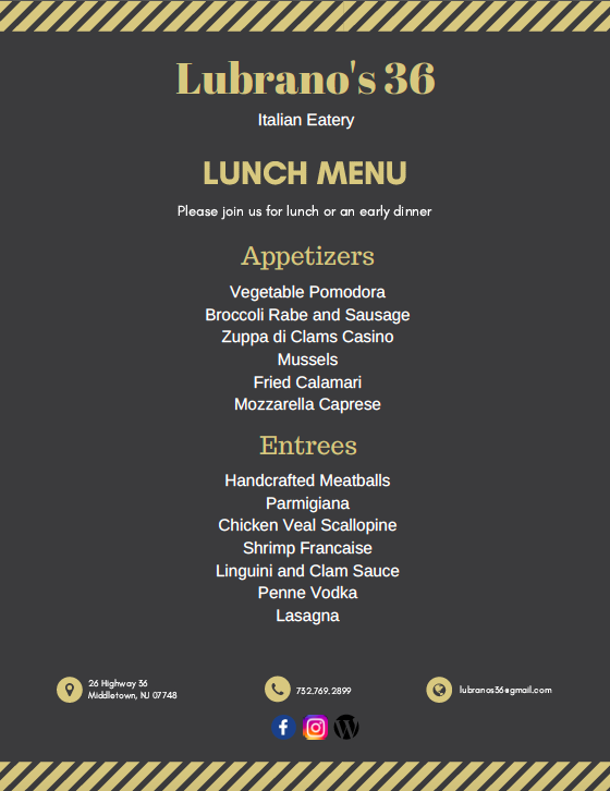 Lunch Menu (Brighton Gardens & Arbor Terrace)