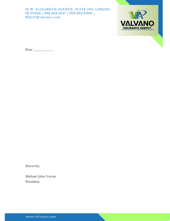 Valvano Insurance Agency Letterhead