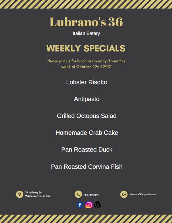 Weekly Specials (Brighton Gardens & Arbor Terrace)