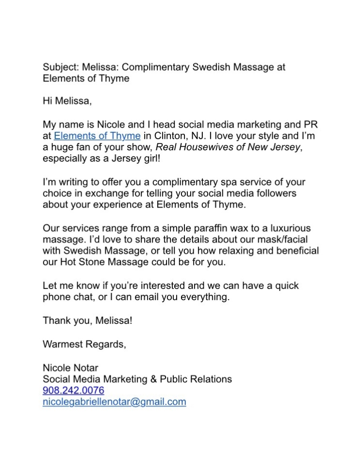 Pitch Email to Melissa Gorga