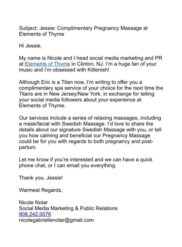 Pitch Email to Jessie James Decker